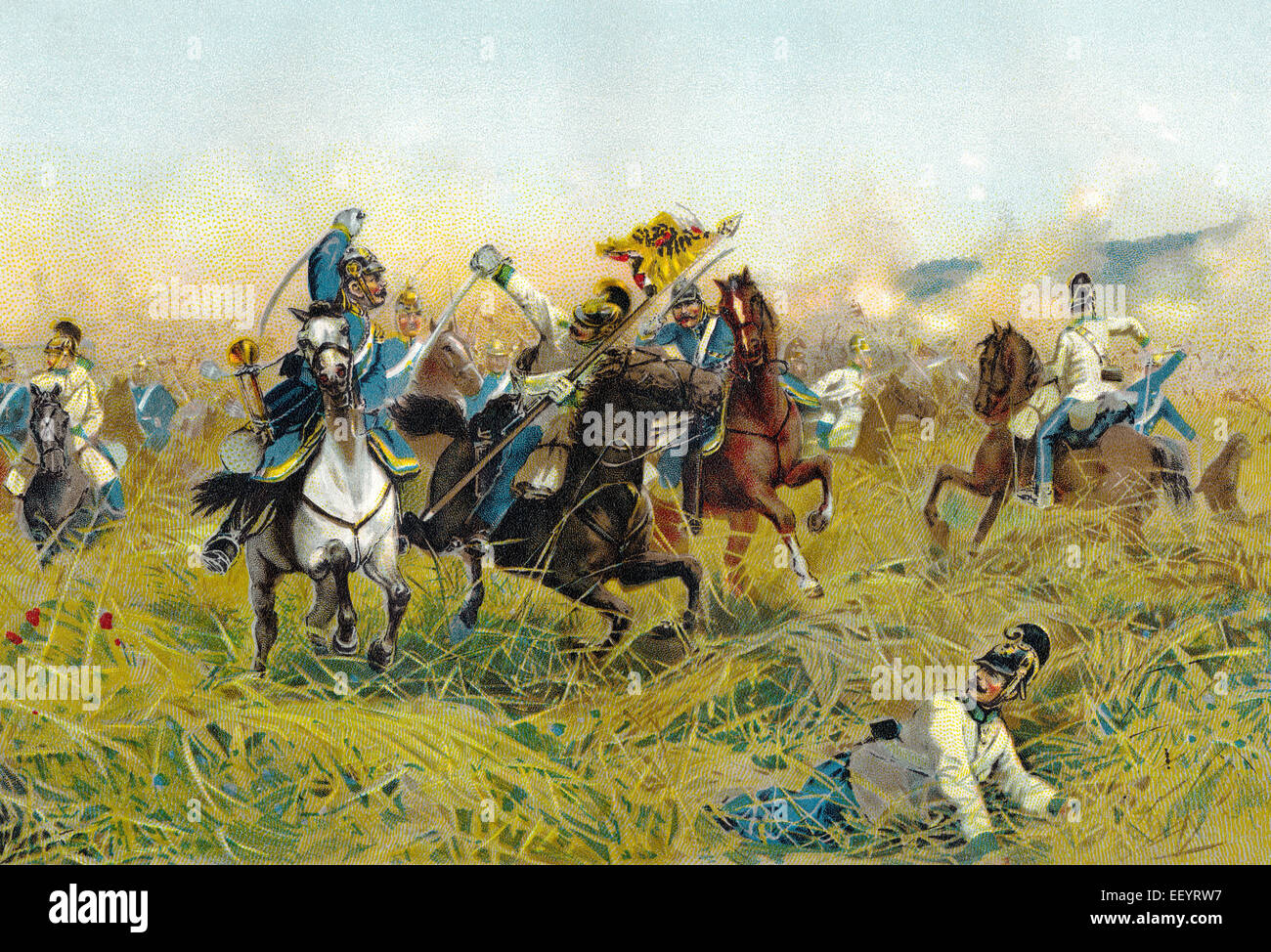 The Battle of Nachod on 27 June 1866, the first major action of the Austro-Prussian War, Die Schlacht bei Nachod - Stock Image