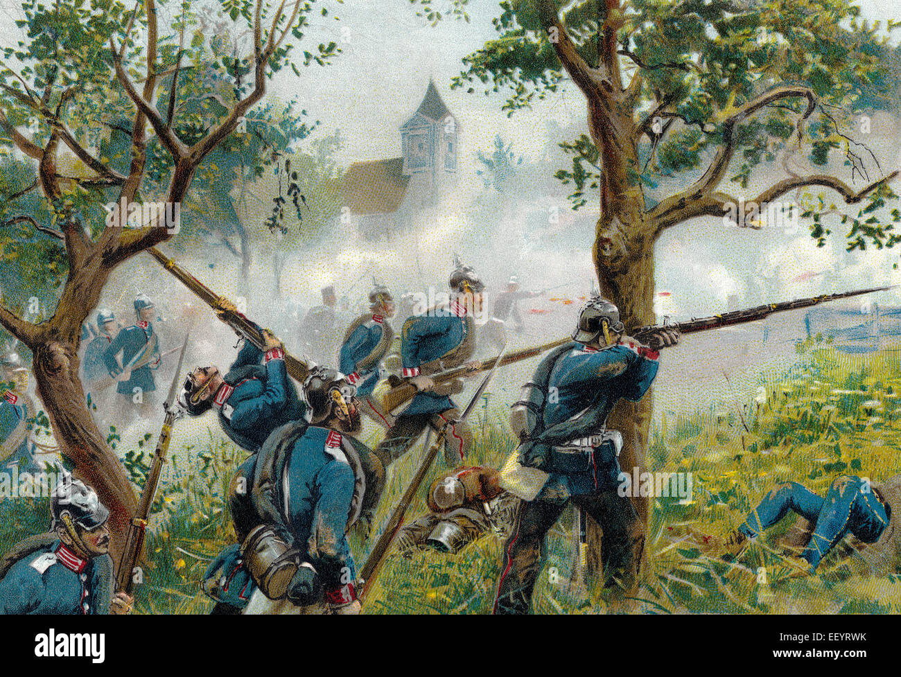 The Battle of Königgrätz or the Battle of Sadowa, Sadová, or Hradec Králové, the decisive - Stock Image