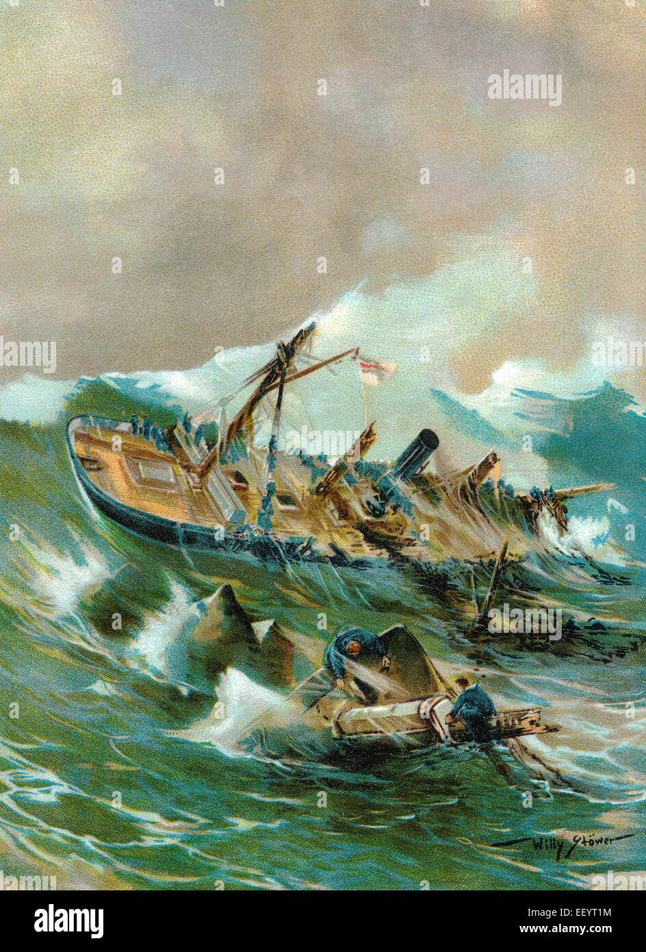 The sinking of the SMS Iltis near Qingdao (Tsingtao), 1896, a gunboat of the Imperial Navy in service of the German - Stock Image