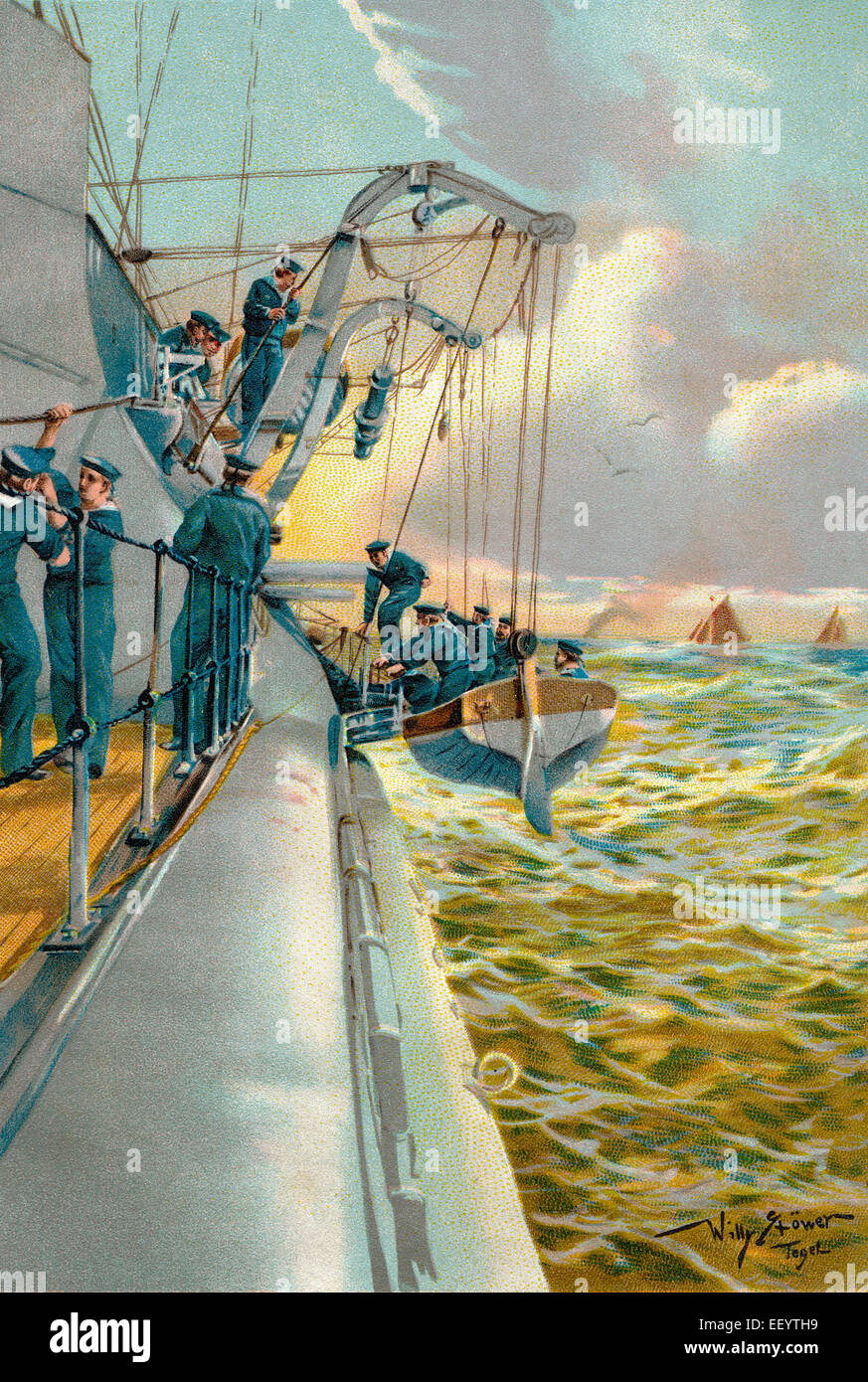 boat maneuvers with a lifeboat, c. 1900, Germany, Bootsmanöver auf See mit einem Rettungsboot, ca. 1900, Deutschland - Stock Image