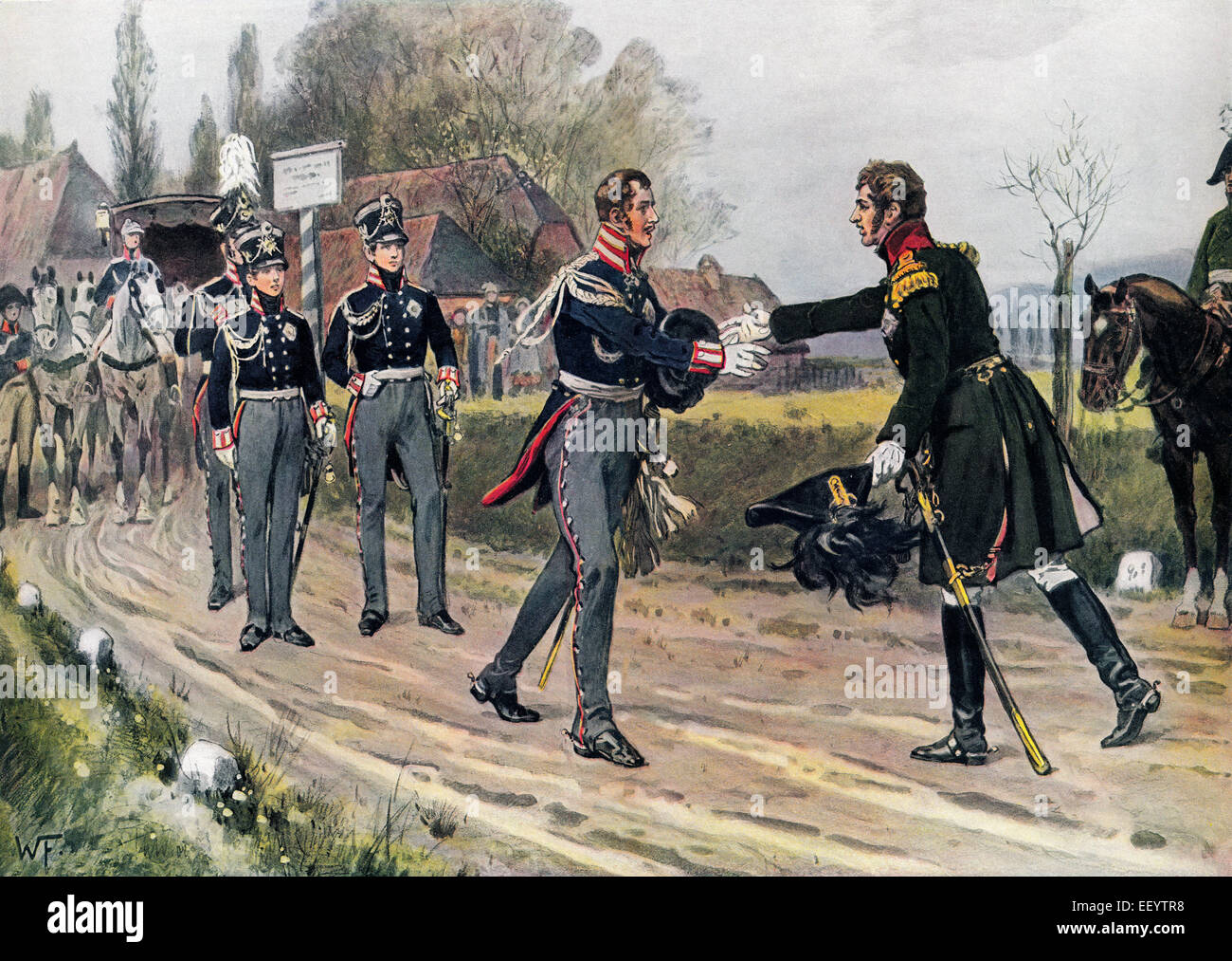 Emperor Alexander I of Russia meets Frederick William III of Prussia near Spahlitz, 1813, historical painting by - Stock Image