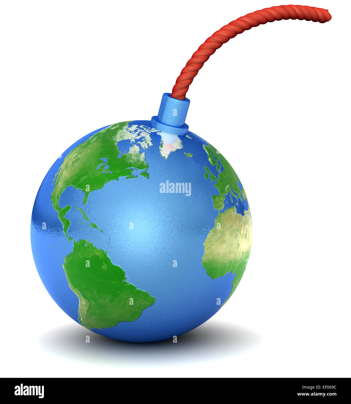Bomb with Earth texture. - Stock Image