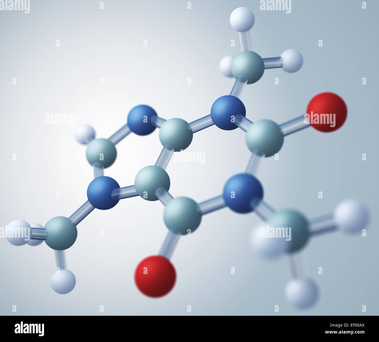 Caffeine molecular model. Caffeine is an alkaloid that acts as a central nervous system stimulant - Stock Image