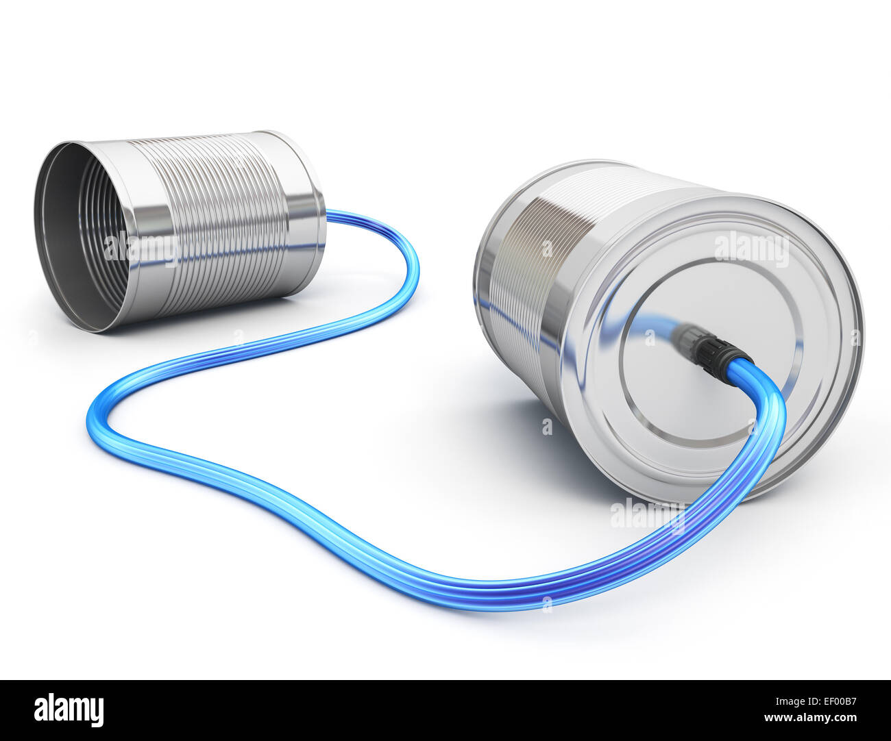 Tin can phone with fiber optic cable Stock Photo