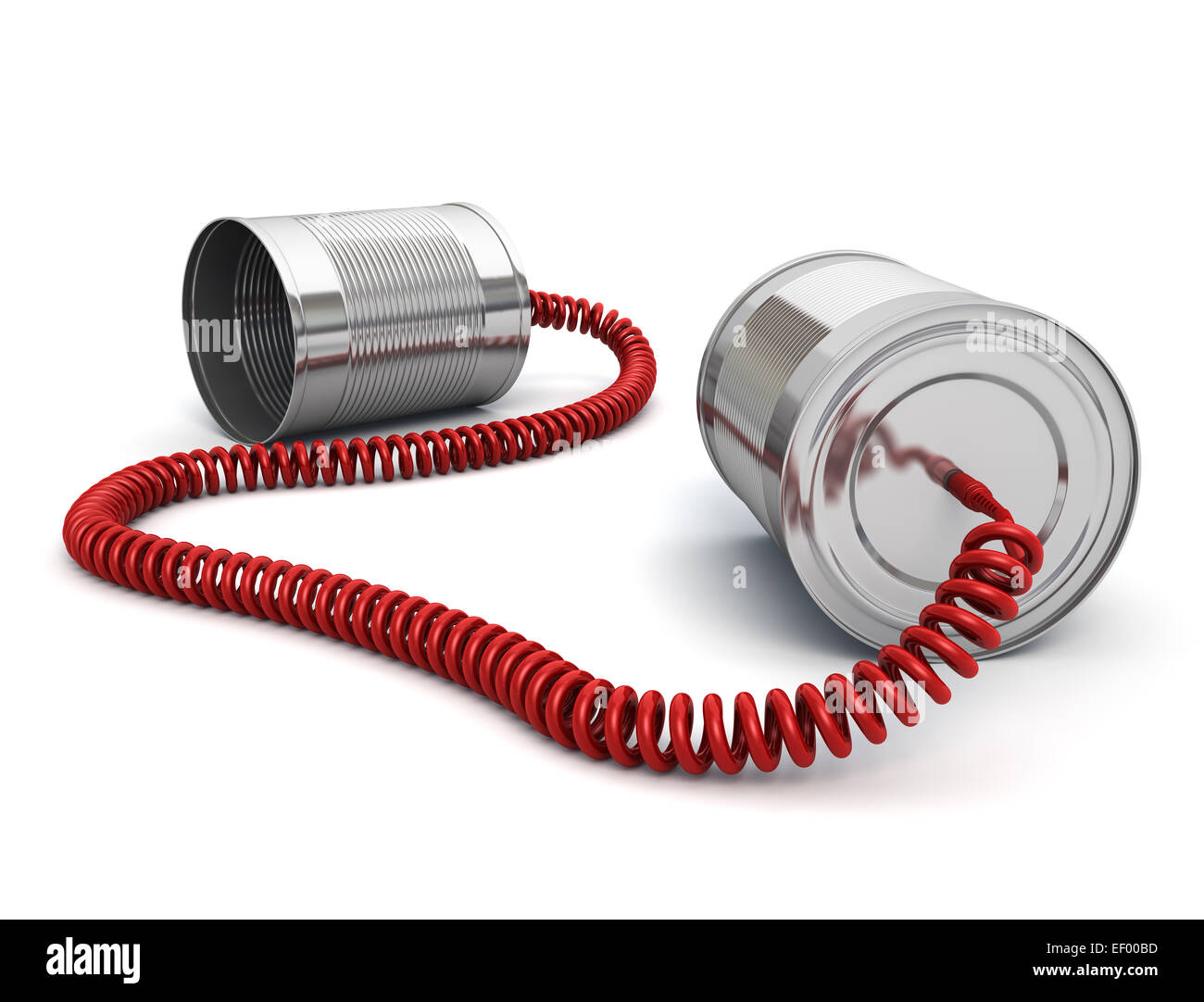Tin can phone with wired cable - Stock Image