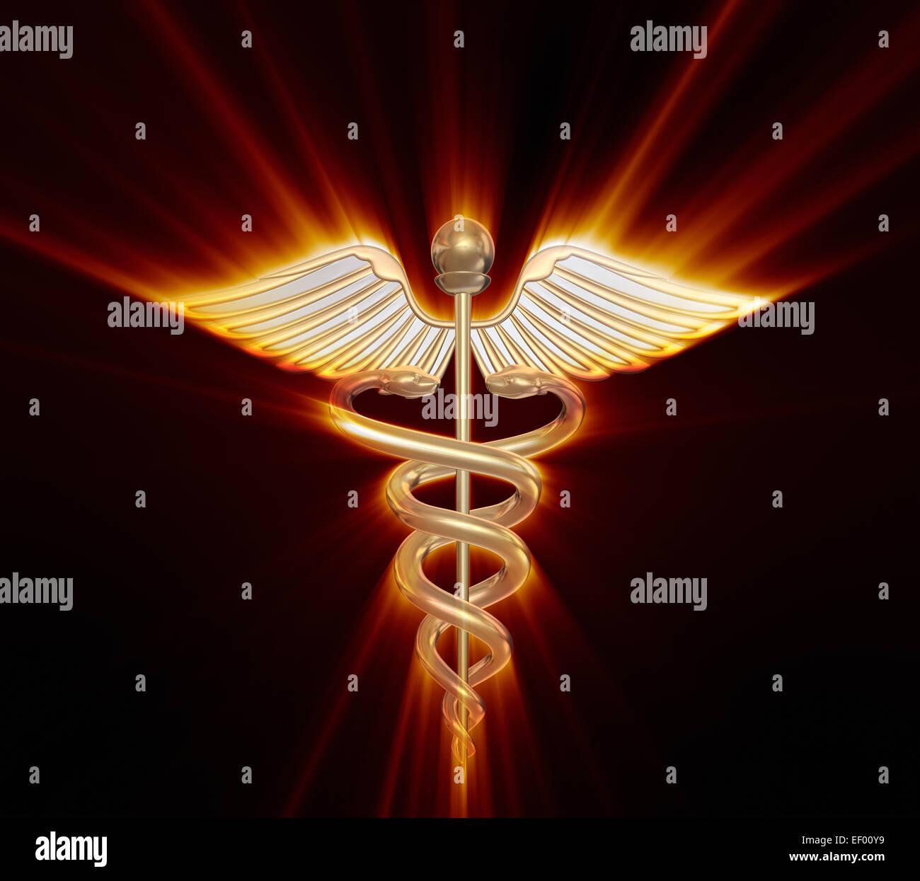 Golden caduceus medical symbol - Stock Image