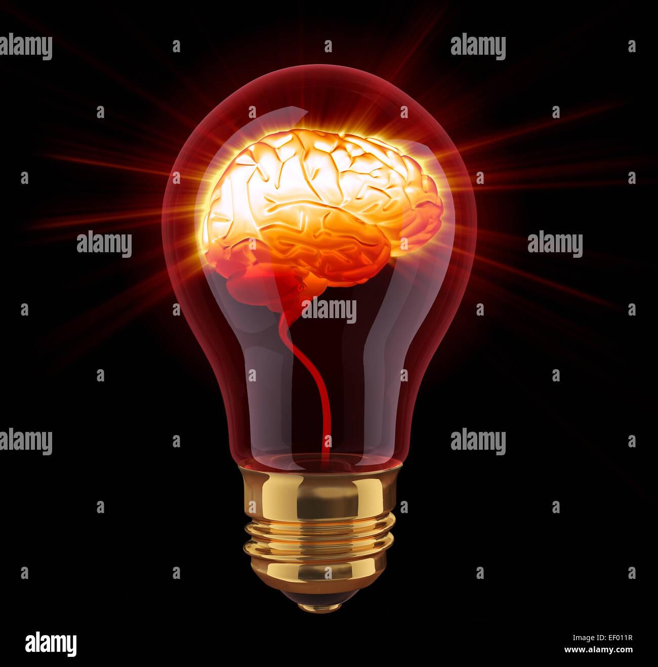 Light Bulb With Shining Brain Inside   Stock Image