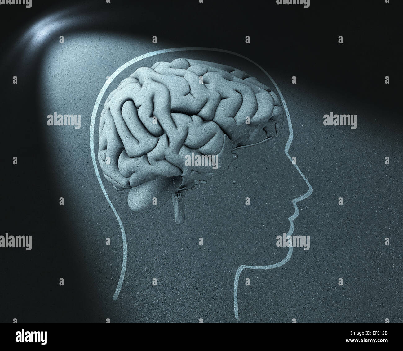 Head and brain drawing in spot of light - Stock Image