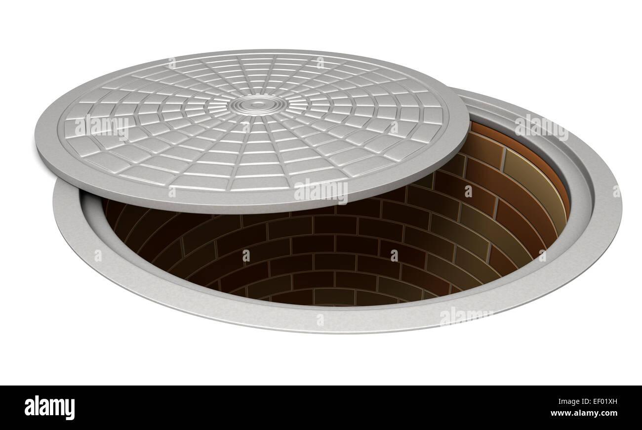 Opened manhole - Stock Image
