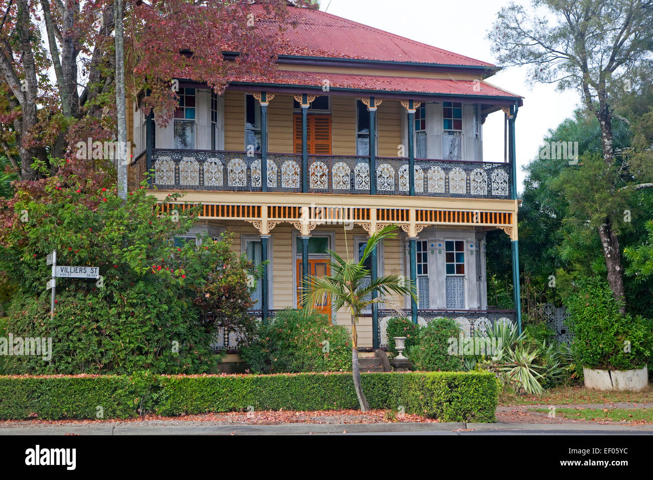 Colourful traditional British colonial house in Grafton, New South Wales, Australia - Stock Image