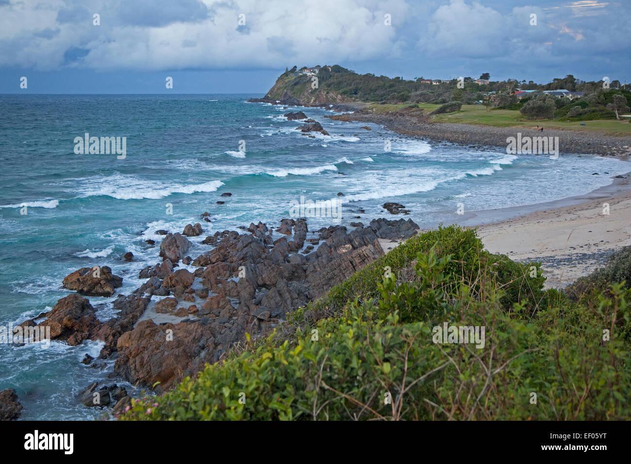 Rocky coast of Forster along the  Tasman Sea, New South Wales, Australia - Stock Image