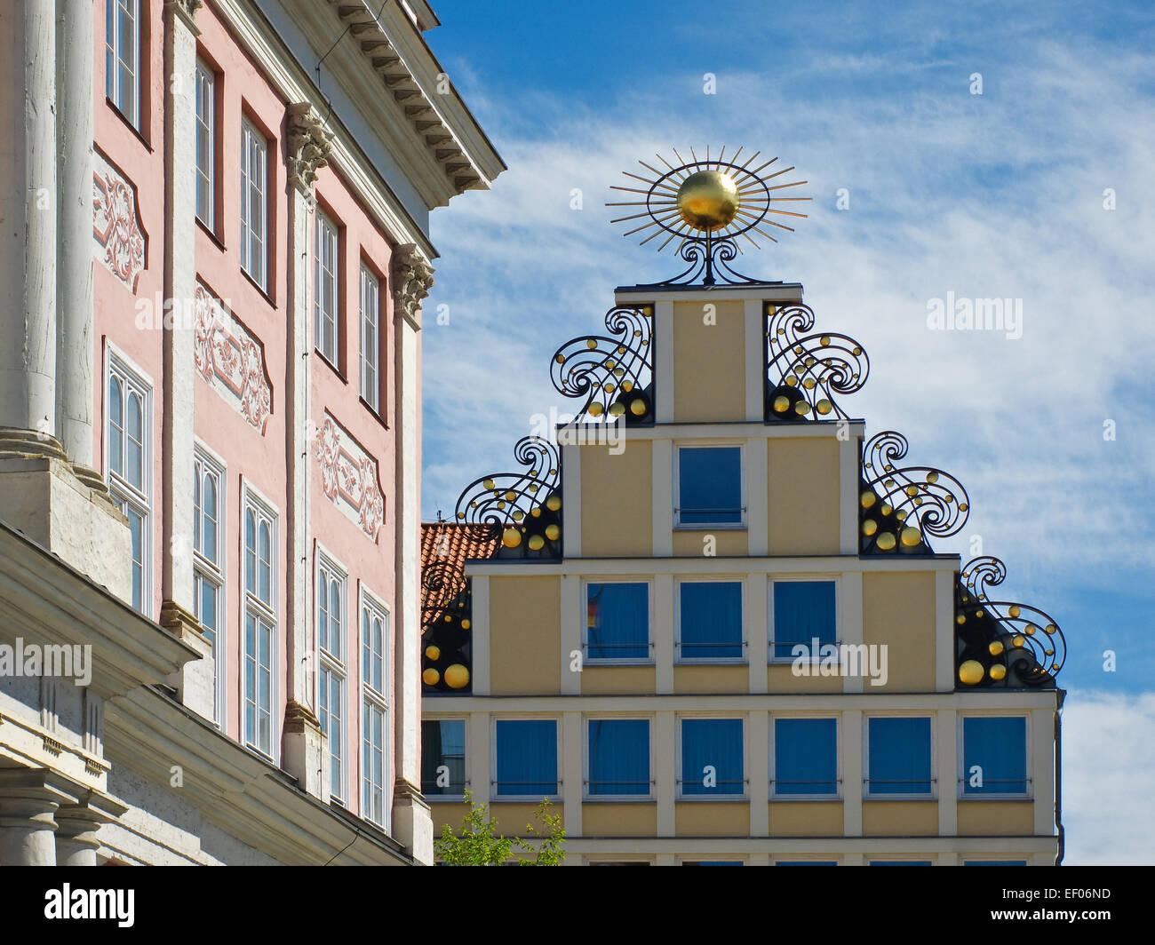 Gable of the house Sun in Rostock. - Stock Image