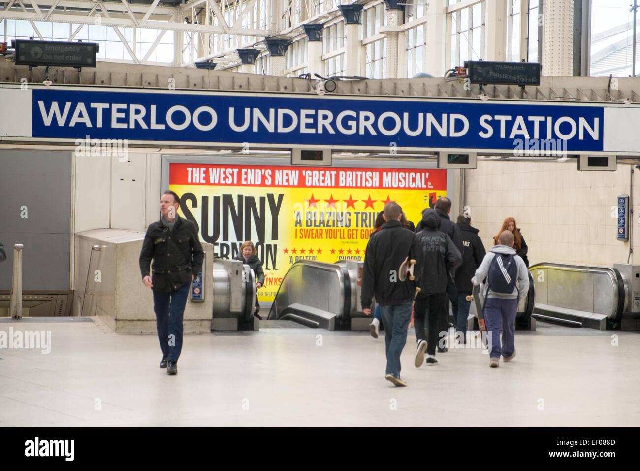passengers entering london underground station at waterloo,london,england - Stock Image