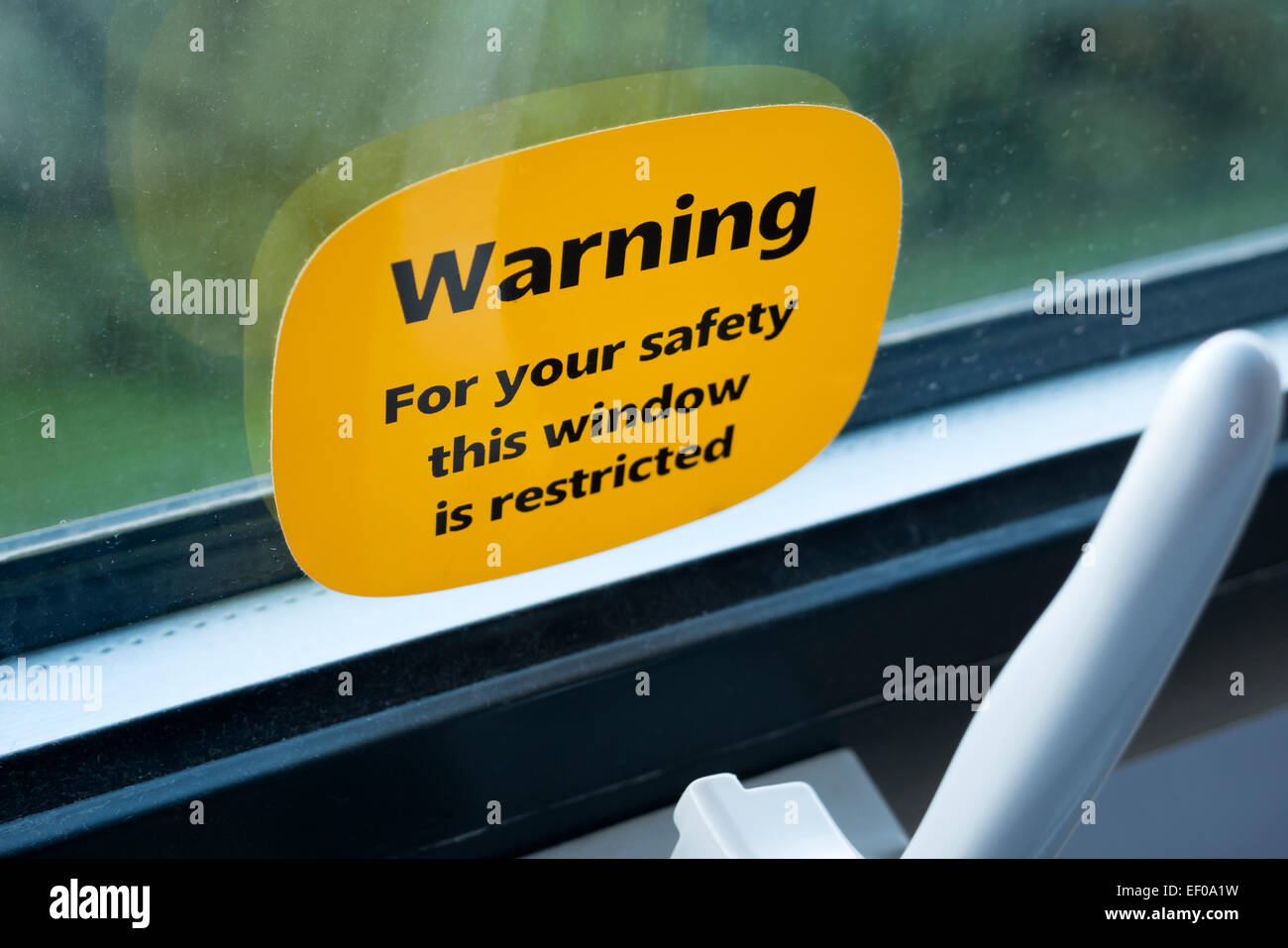 Warning sticker on restricted window