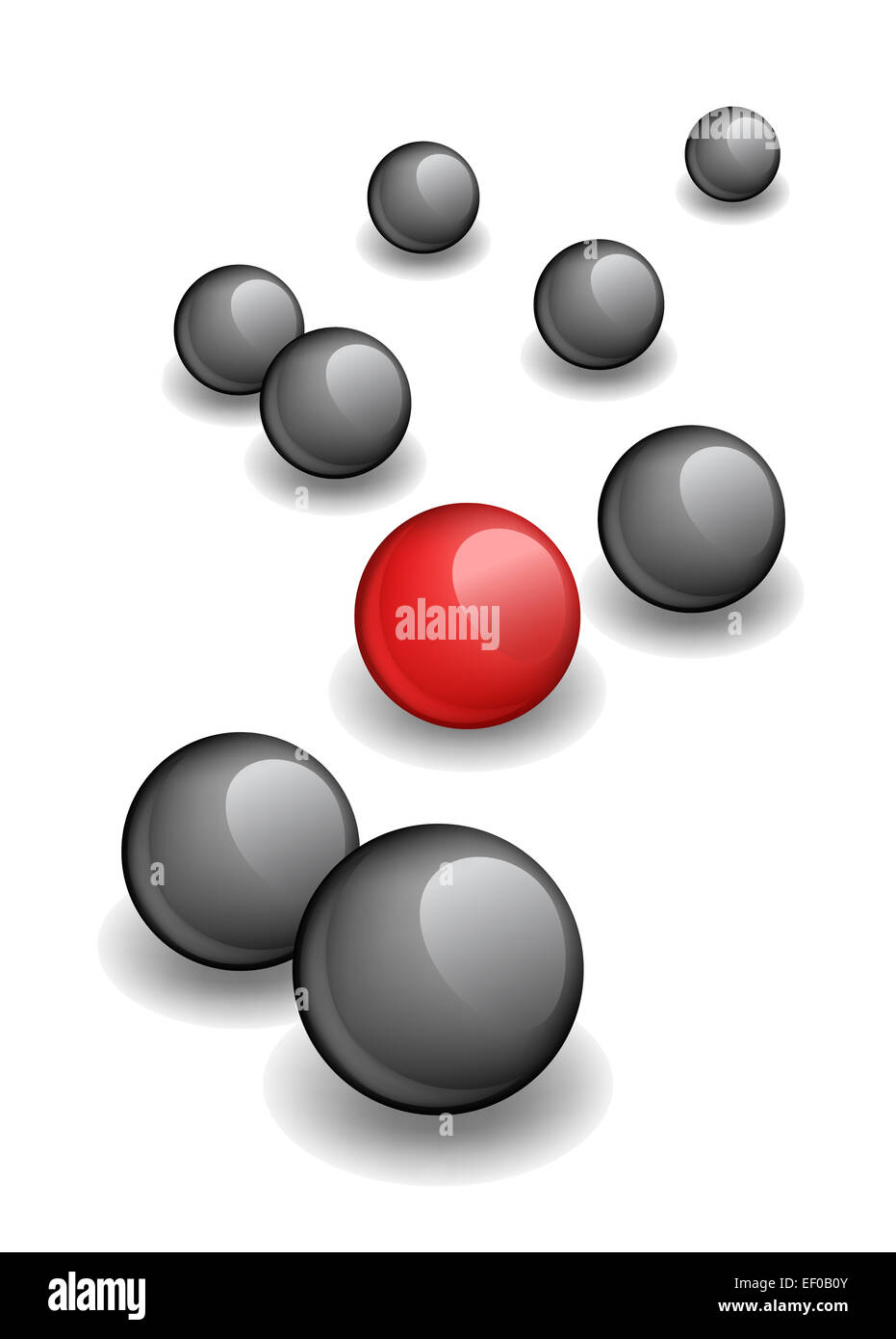 Vector illustration of red ball within black ones - Stock Image