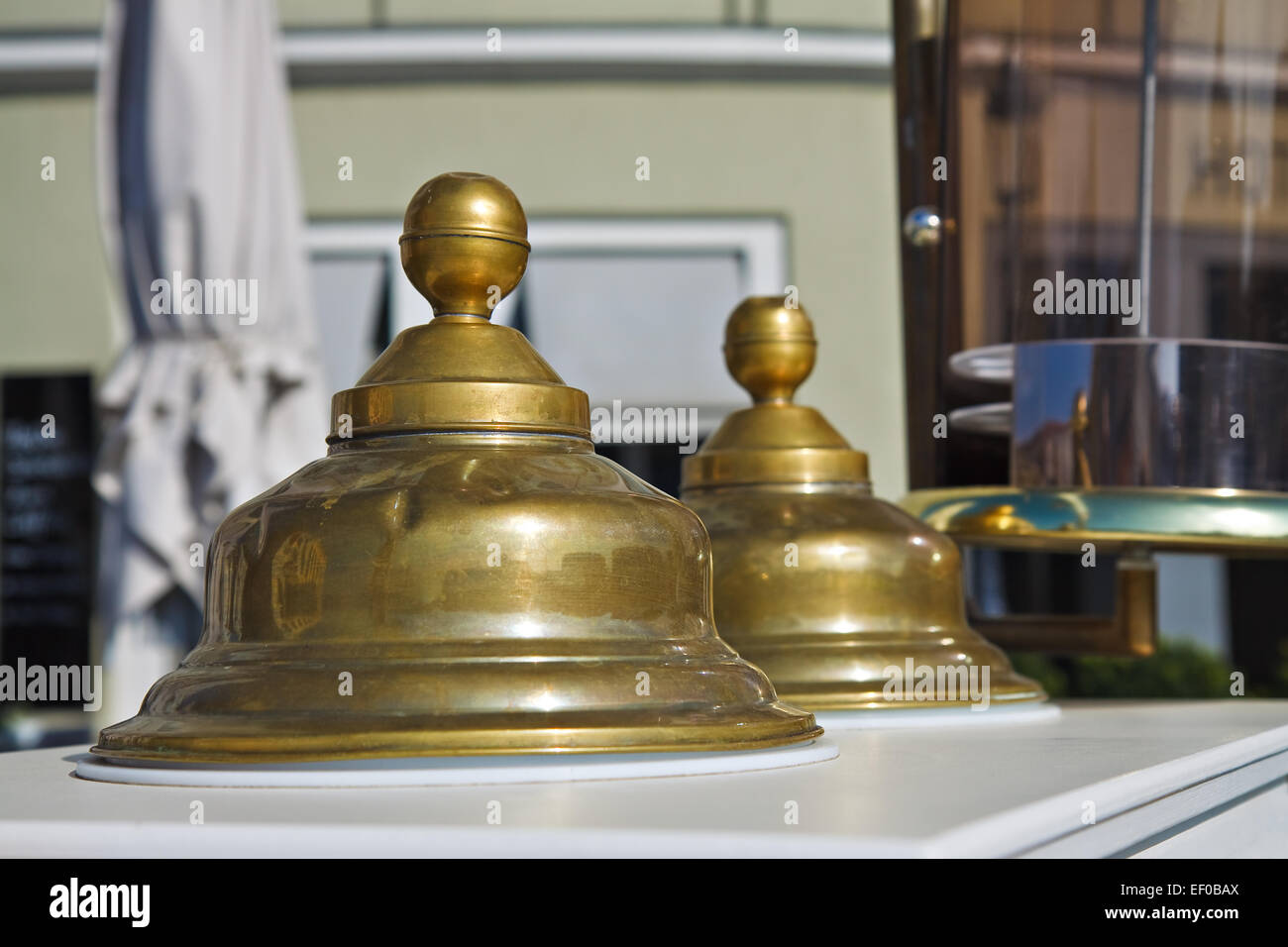 Gold-plated bells - Stock Image