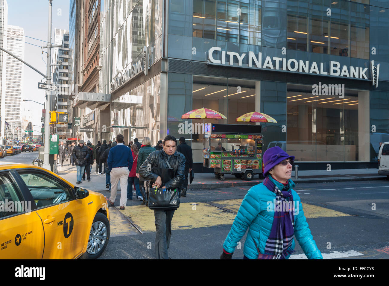 A New York branch of the Los Angeles based City National Bank in Midtown Manhattan on Friday, January 23, 2015. - Stock Image