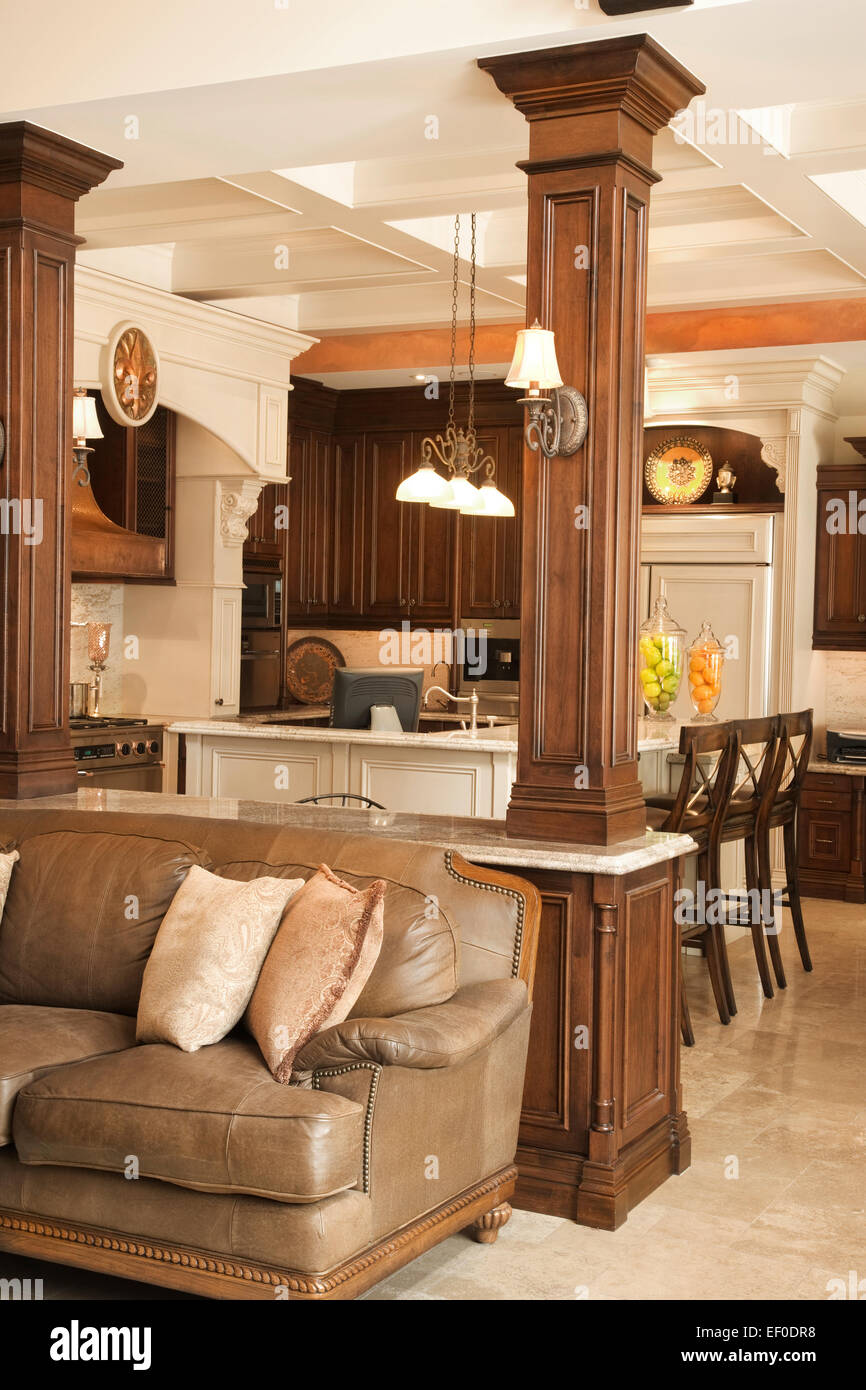 open concept living room kitchen in luxury home