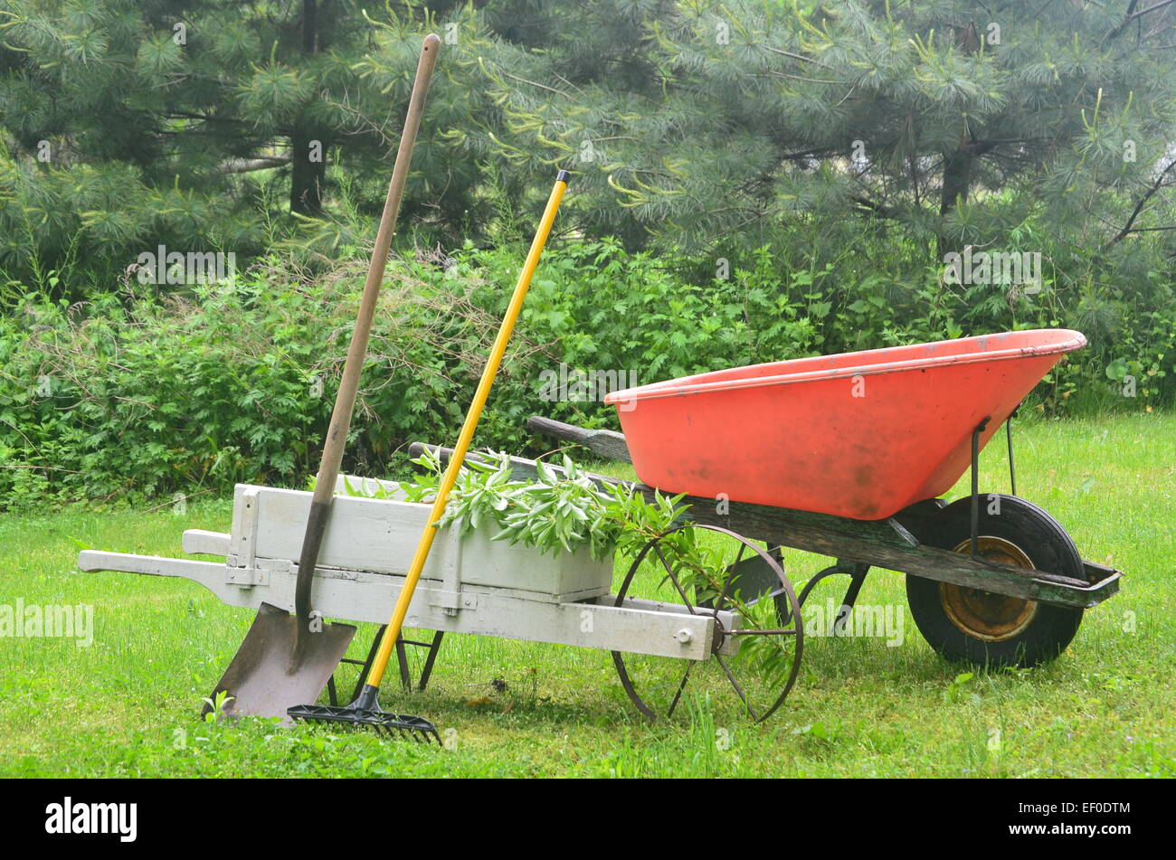 Gardening tools wheelbarrows - Stock Image