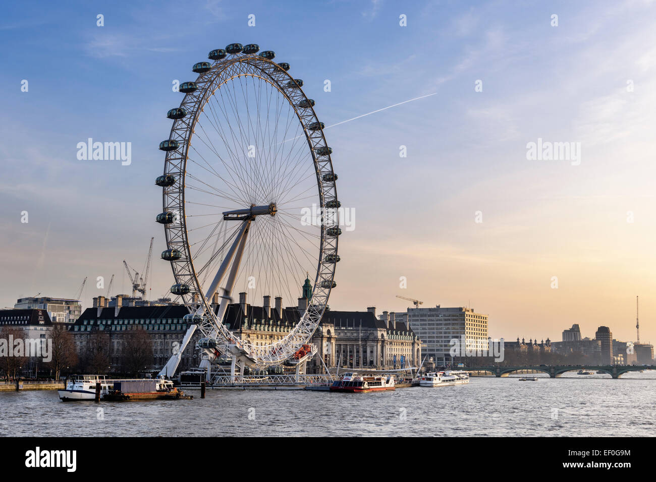 View of the The London Eye from across the River Thames. - Stock Image