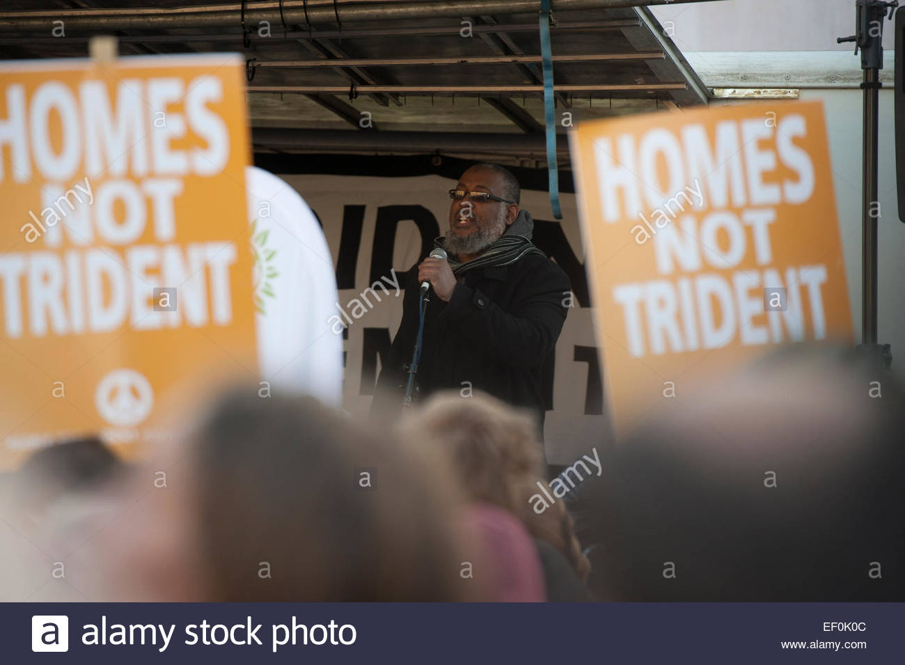 Parliament Square, Westminster, City of London, UK. 24 January 2015. Wrap Up Trident Demonstration. Khalil Charles, - Stock Image