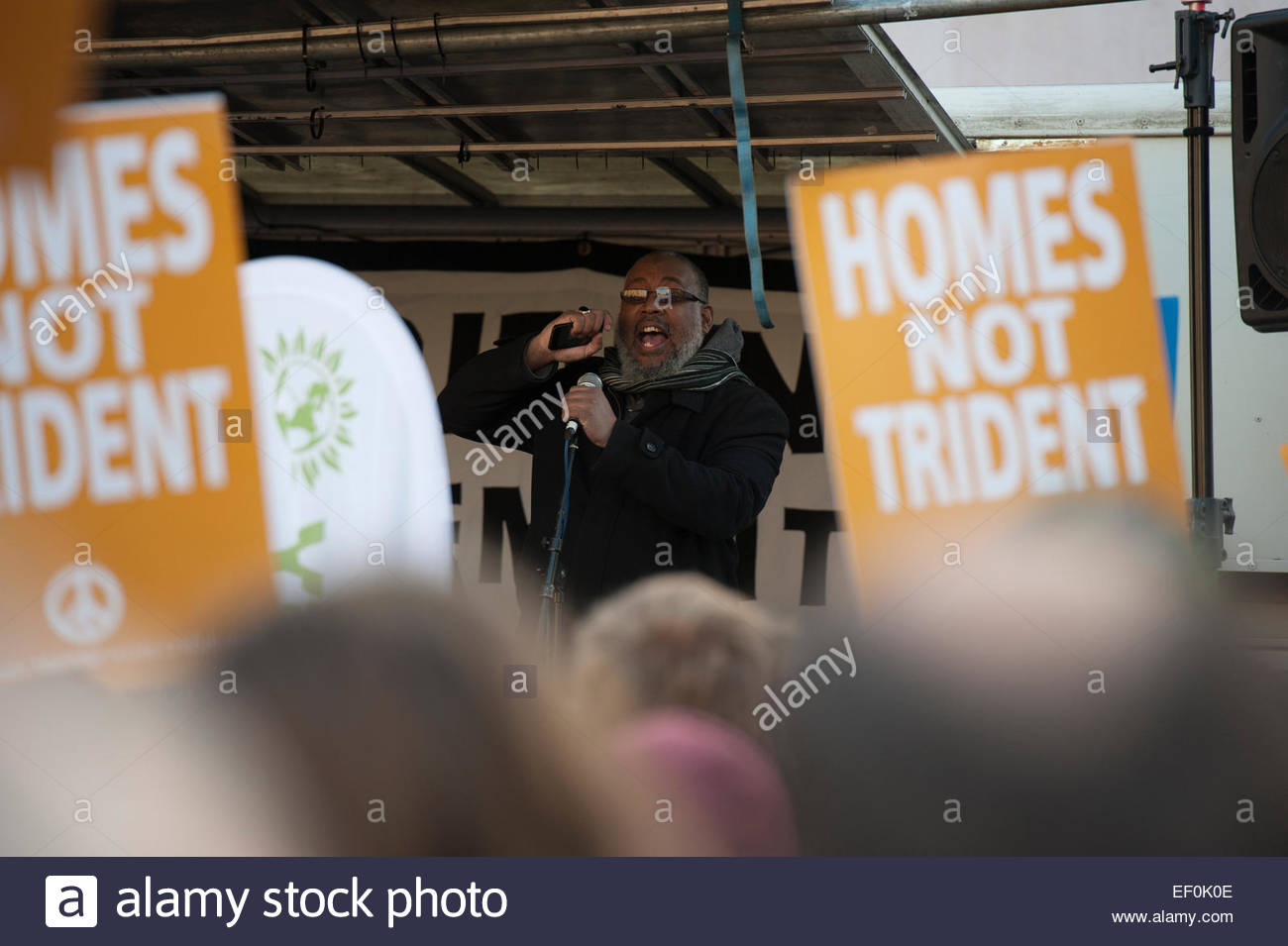 Parliament Square, Westminster, City of London, UK. 24 January 2015. Wrap Up Trident Demonstration. Khalil Charles, Stock Photo