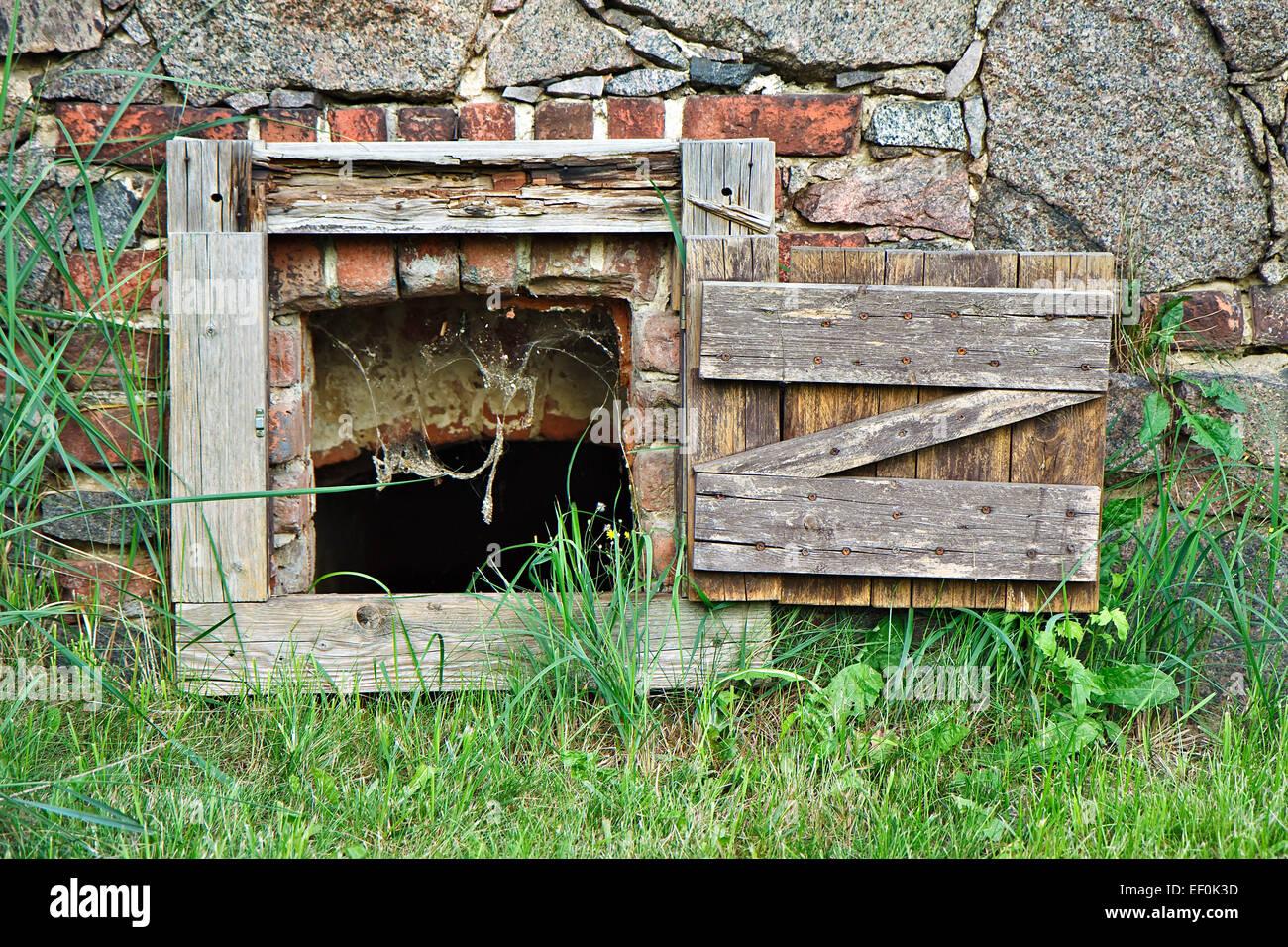 An old basement windows. - Stock Image