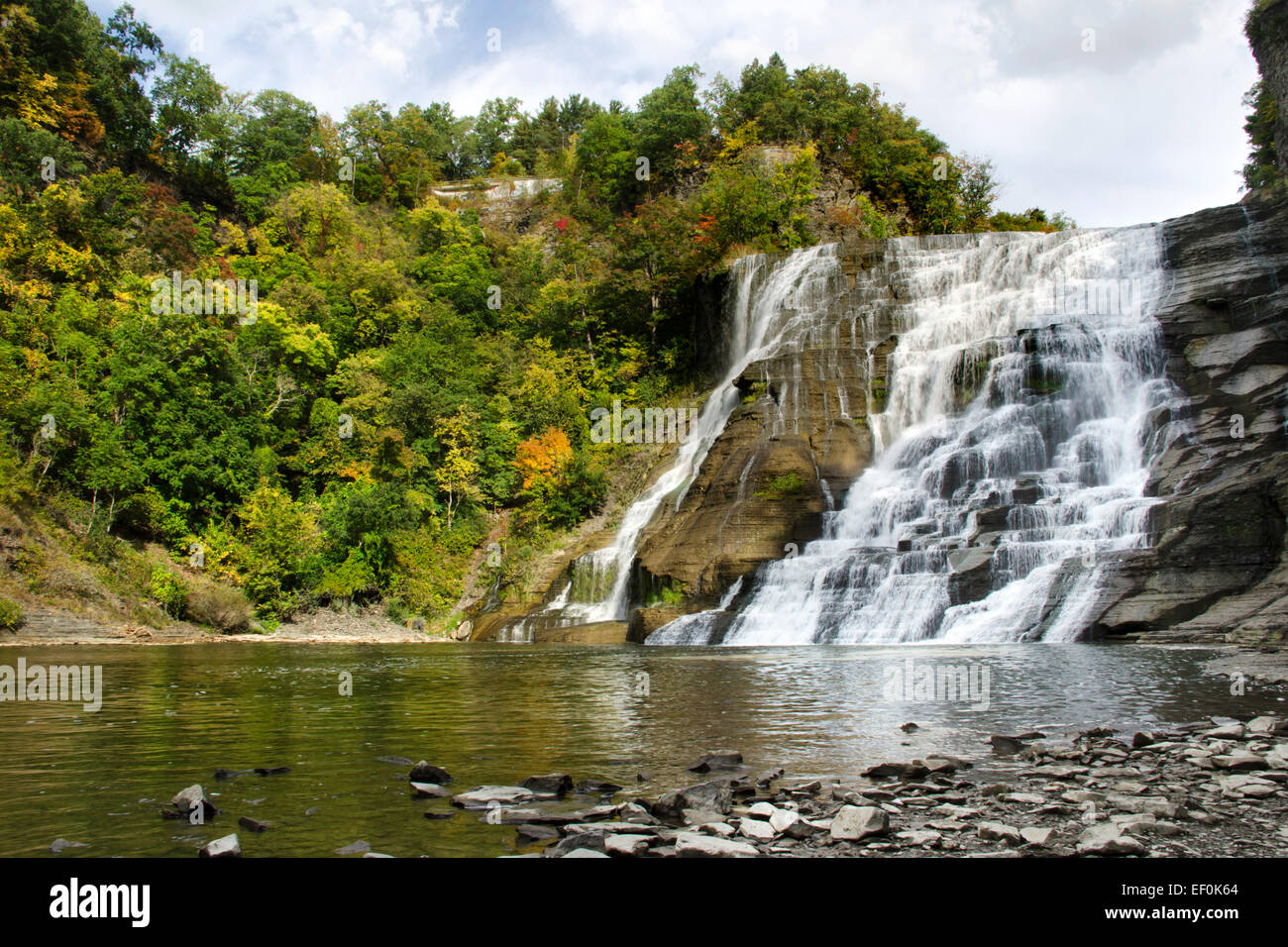 Ithaca Falls waterfall scenic landscape Finger Lakes Region, Ithaca Tompkins County central New York, USA. - Stock Image