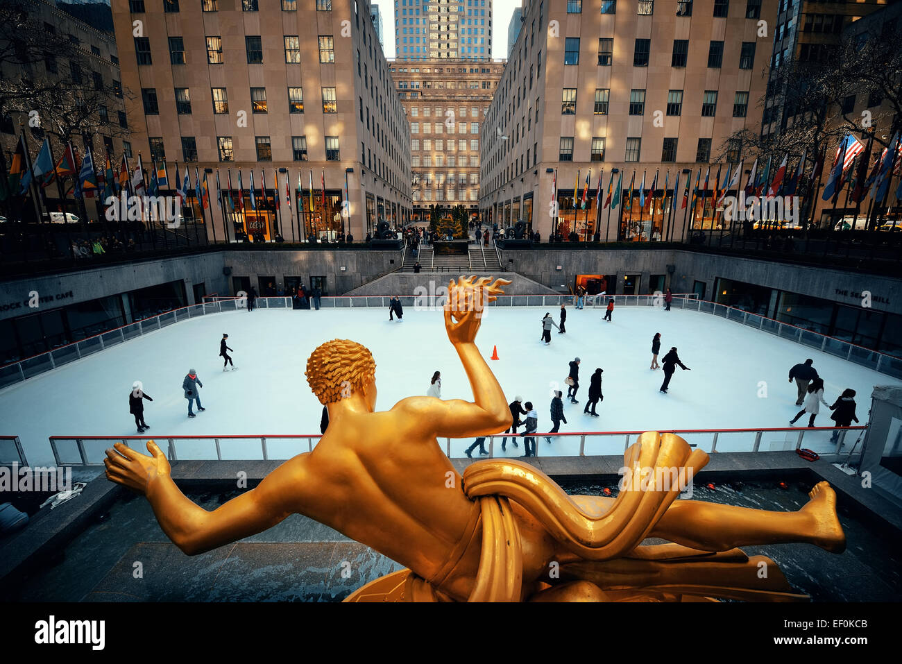 NEW YORK CITY, NY - MAR 30: Rockefeller Plaza ice rink on March 30, 2014 in New York City. Declared a National Historic Stock Photo