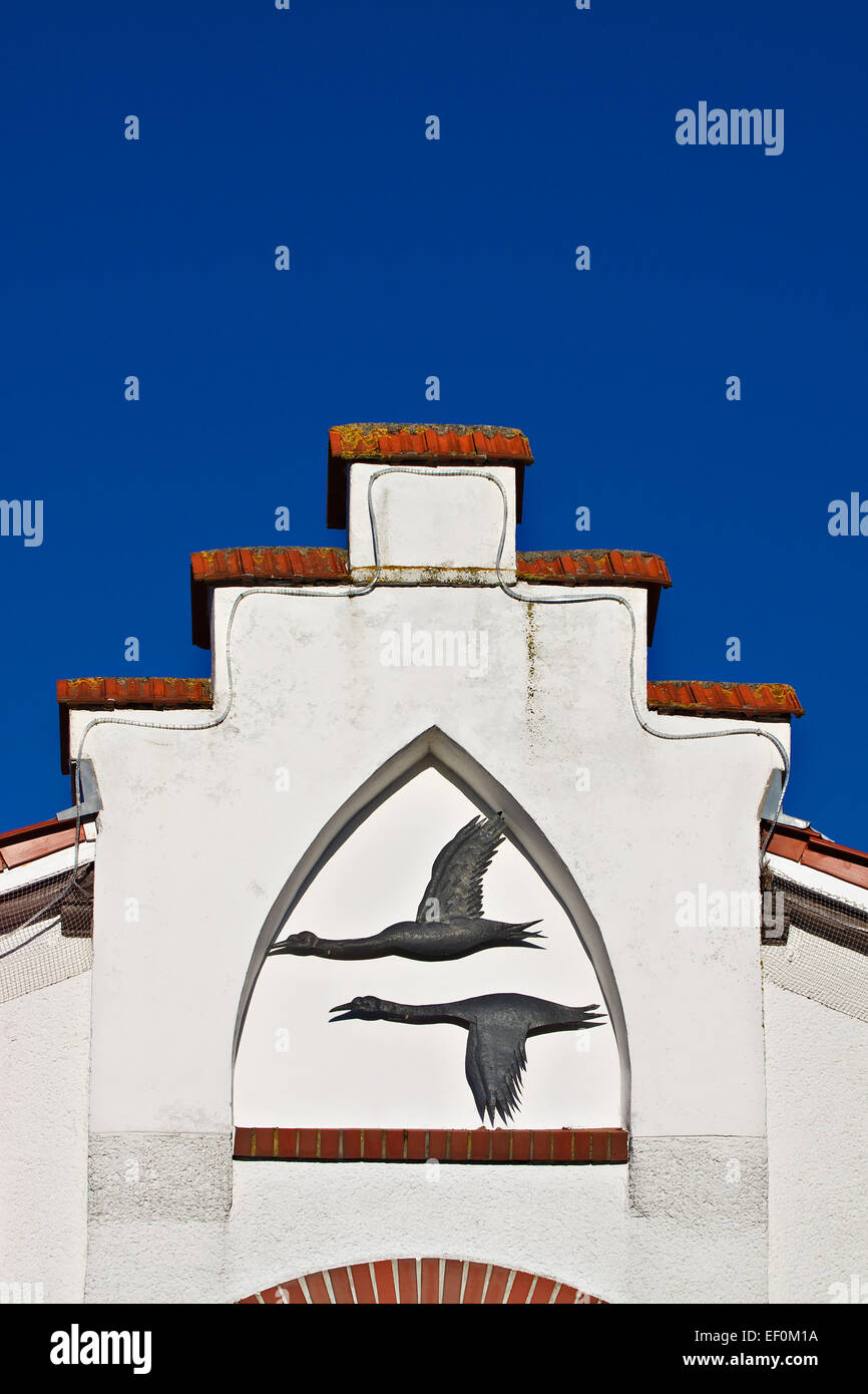 A house with gable crest in Zingst. - Stock Image