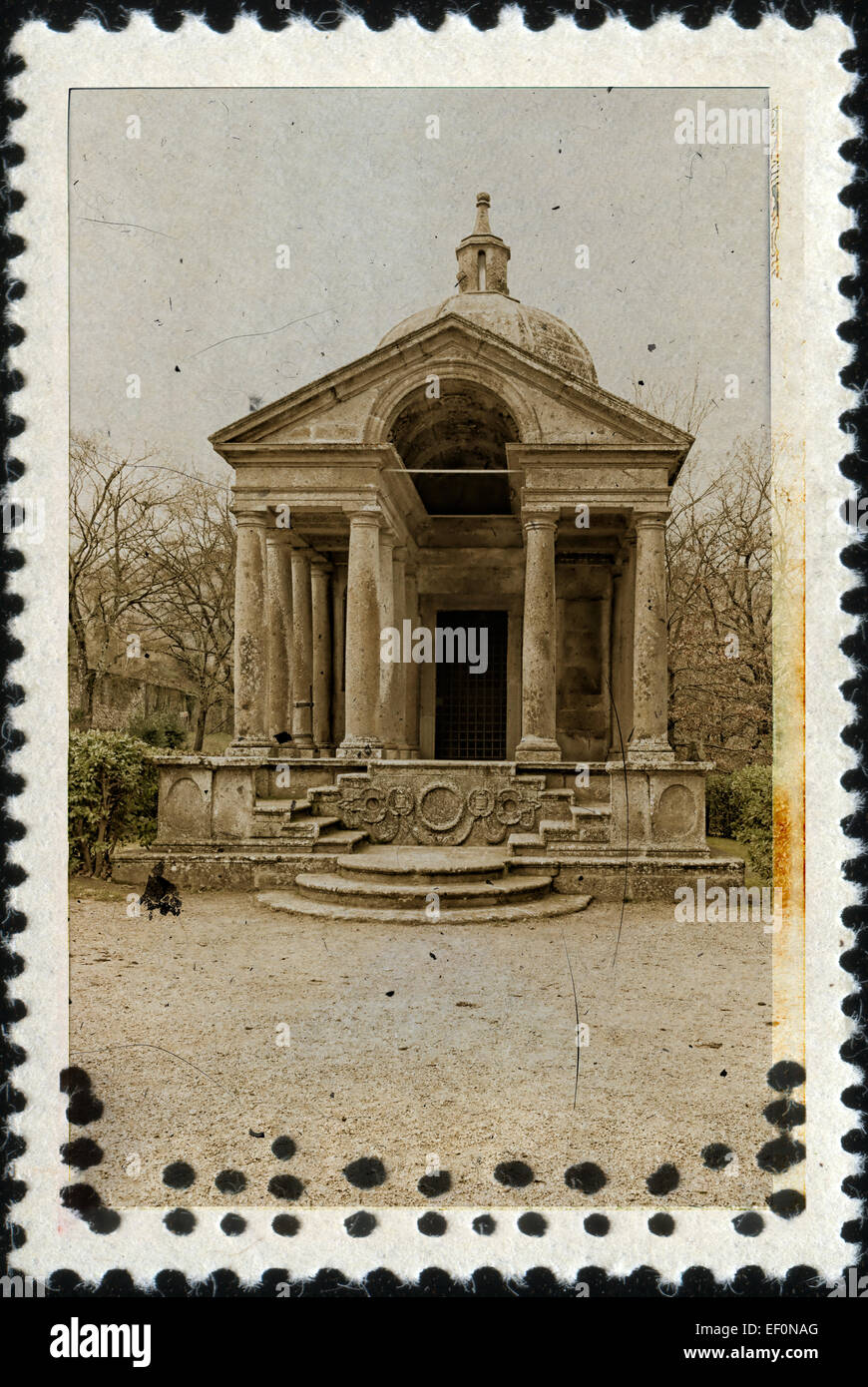 Temple Of Eternity Bomarzo On Old Stamp - Stock Image