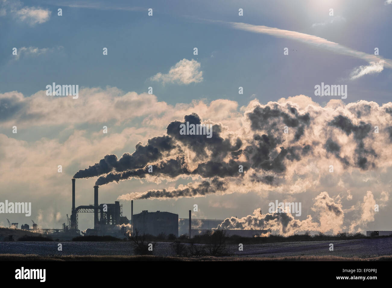 View to an industrial area in Wismar (Germany). - Stock Image