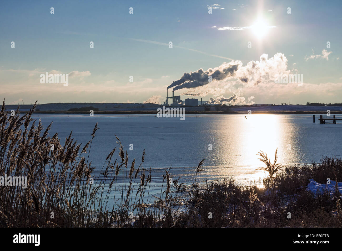 View to an industrial area in Wismar (Germany). Stock Photo