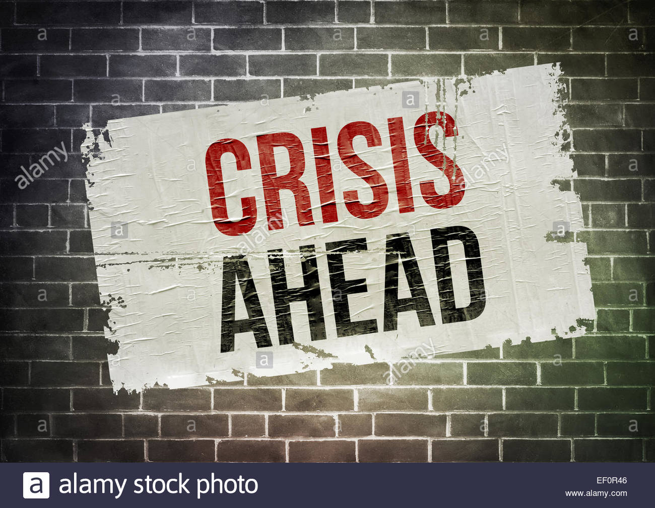 Crisis ahead poster concept - Stock Image