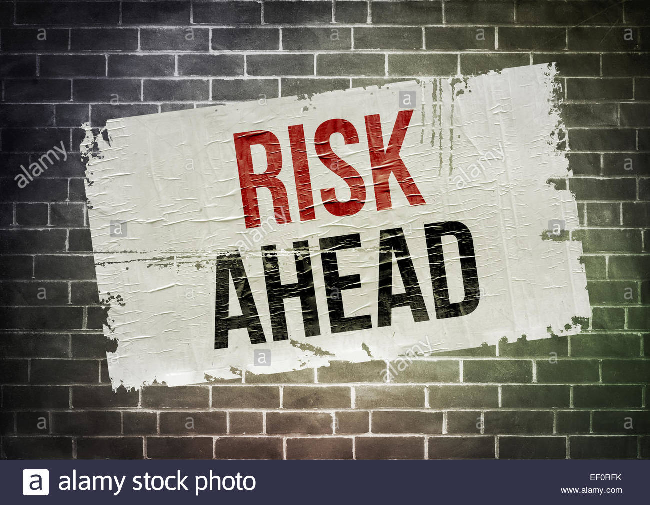 Risk ahead poster concept - Stock Image