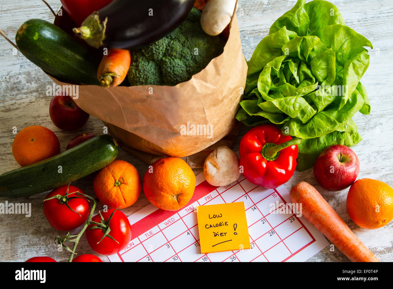 Low calorie diet,  vegetables and fruits - Stock Image