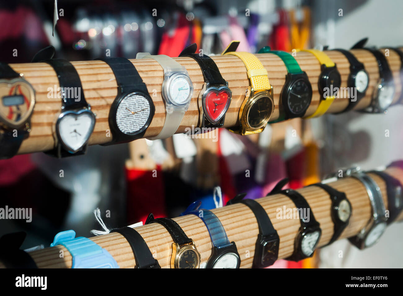 Wristwatches in store window display - USA - Stock Image