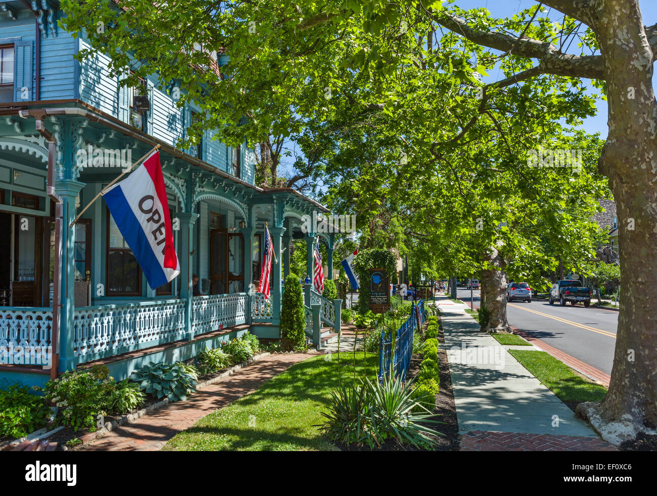 The Blue Rose, historic old inn and restaurant on Washington Street, Cape May, New Jersey, USA - Stock Image