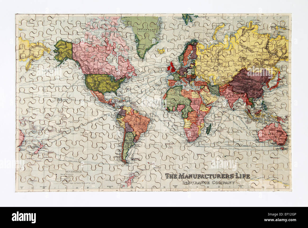 1930s world map jigsaw produced on behalf of manufacturers life 1930s world map jigsaw produced on behalf of manufacturers life insurance company now munulife actual size 480mm x 312mm gumiabroncs Choice Image
