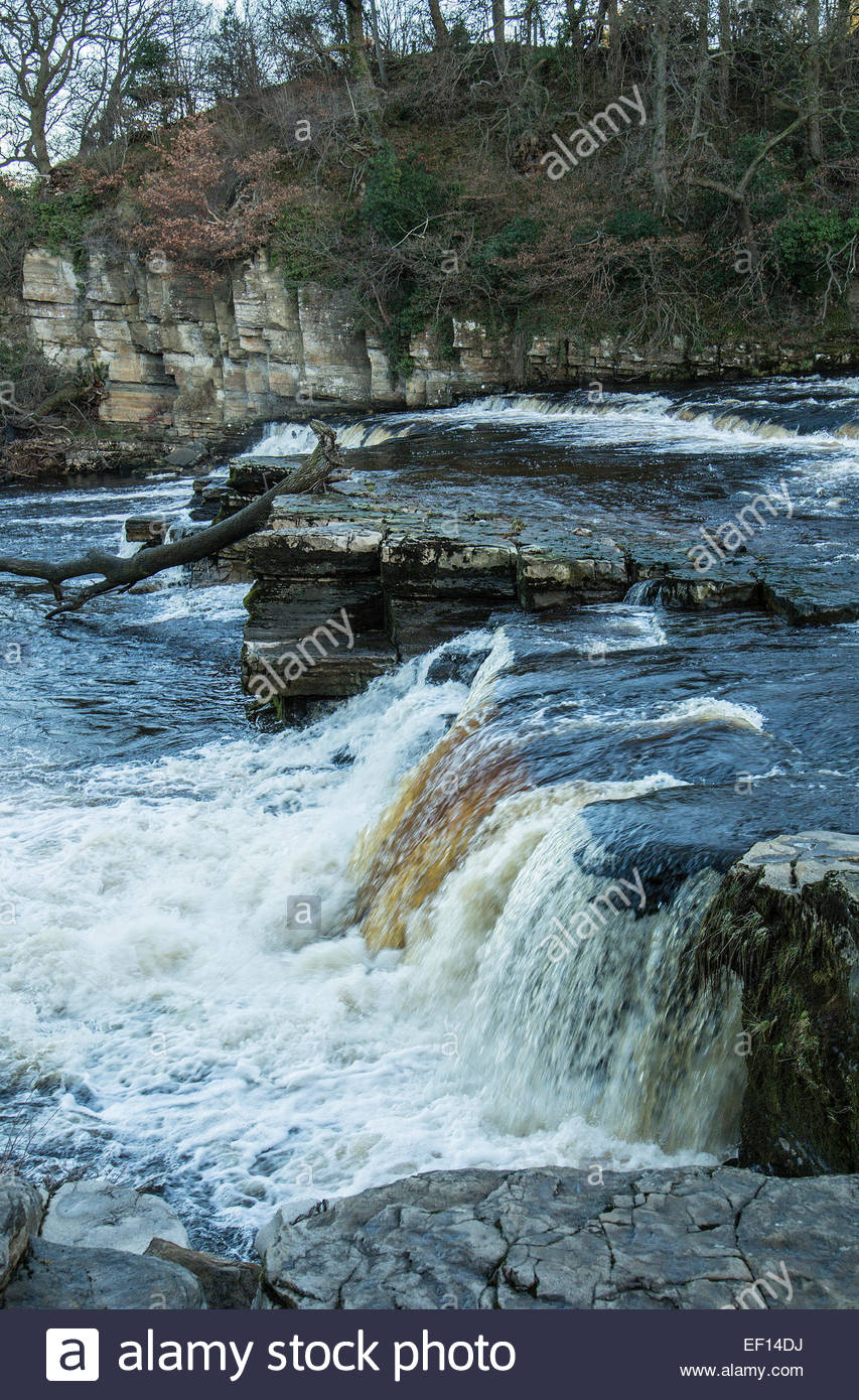 Waterfall on the River Swale at Richmond, Yorkshire,England - Stock Image