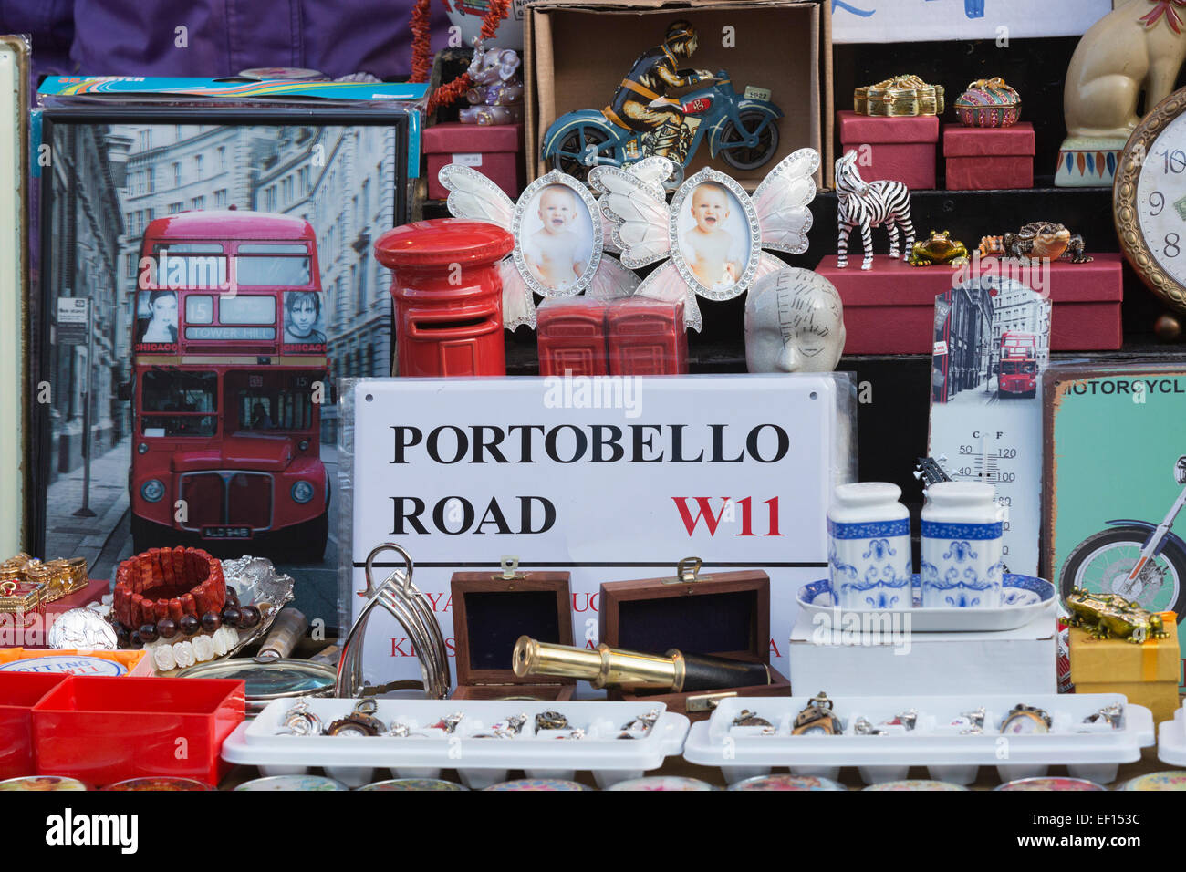 An antique dealer's display at Portobello Market, London, England, United Kingdom - Stock Image