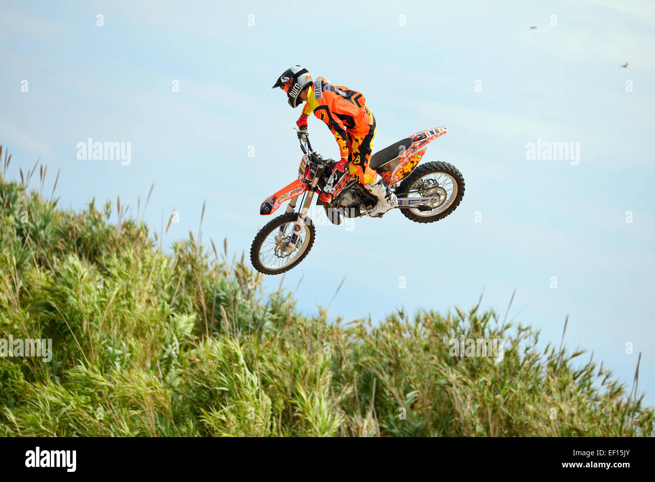 BARCELONA - JUN 28: A professional rider at the FMX (Freestyle Motocross) competition at LKXA Extreme Sports Barcelona - Stock Image