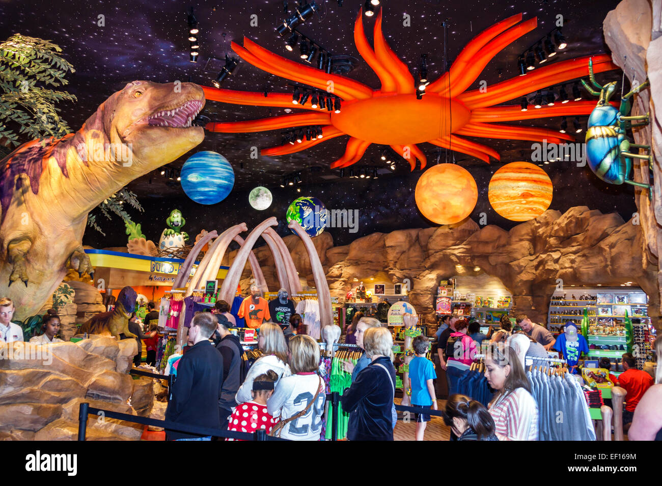 Orlando Florida Lake Buena Vista Downtown Disney shopping dining entertainment T-Rex restaurant inside dinosaur - Stock Image