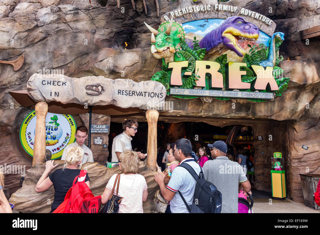 Orlando Florida Lake Buena Vista Downtown Disney shopping dining entertainment T-Rex restaurant entrance dinosaur - Stock Image