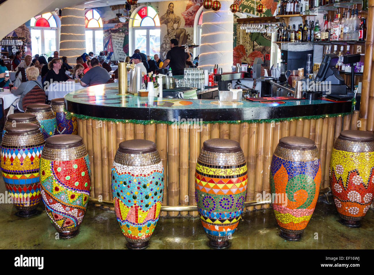 Orlando Florida Lake Buena Vista Downtown Disney shopping dining entertainment Bongo's Cuban Cafe inside restaurant - Stock Image