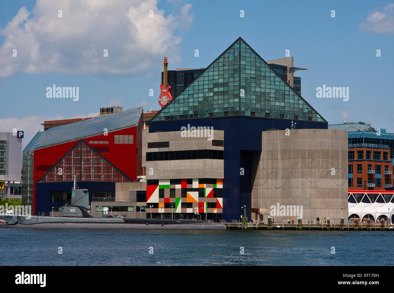 Baltimore, Maryland, The National Aquarium at Baltimore and the museum ship USS Torsk of the Historic Ships in Baltimore. - Stock Image