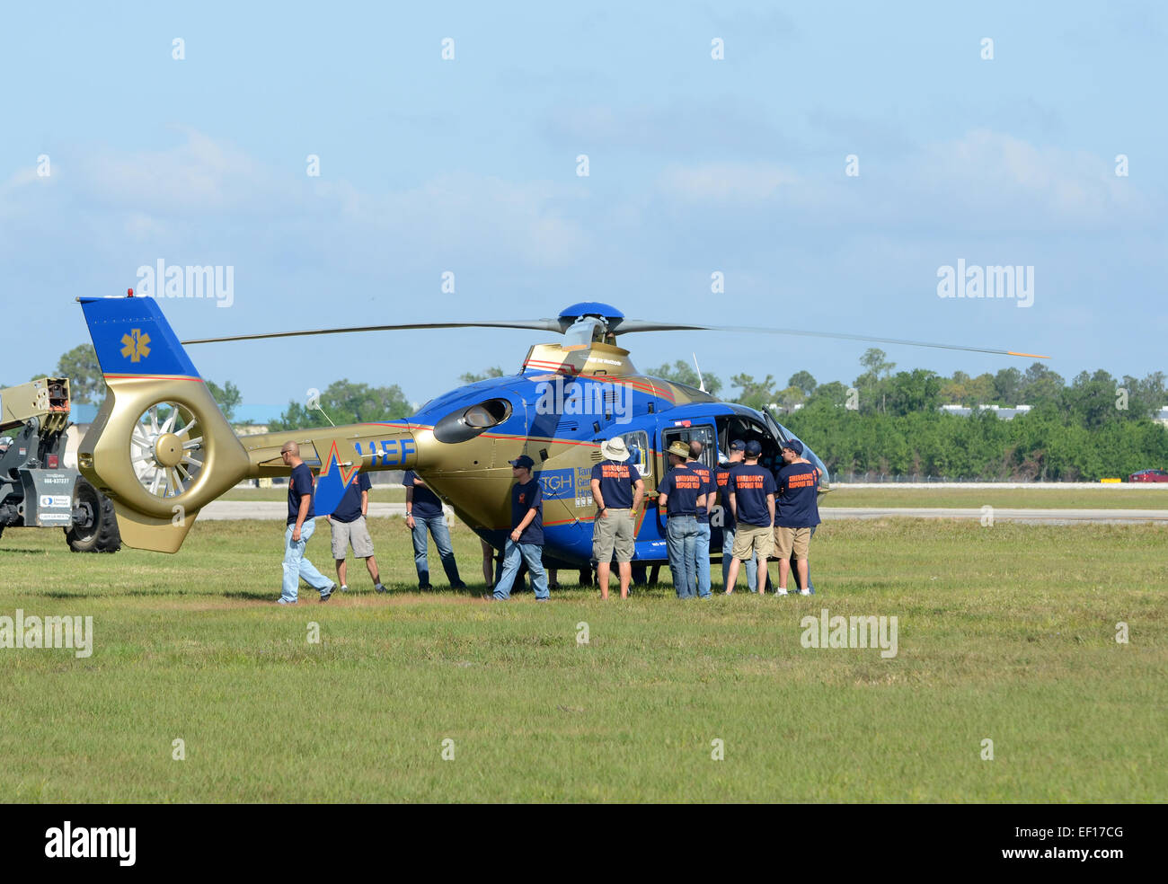 Lakeland, USA - April 1, 2012: Tampa General Hospital medical helicopter helps in training fire rescue emergency - Stock Image