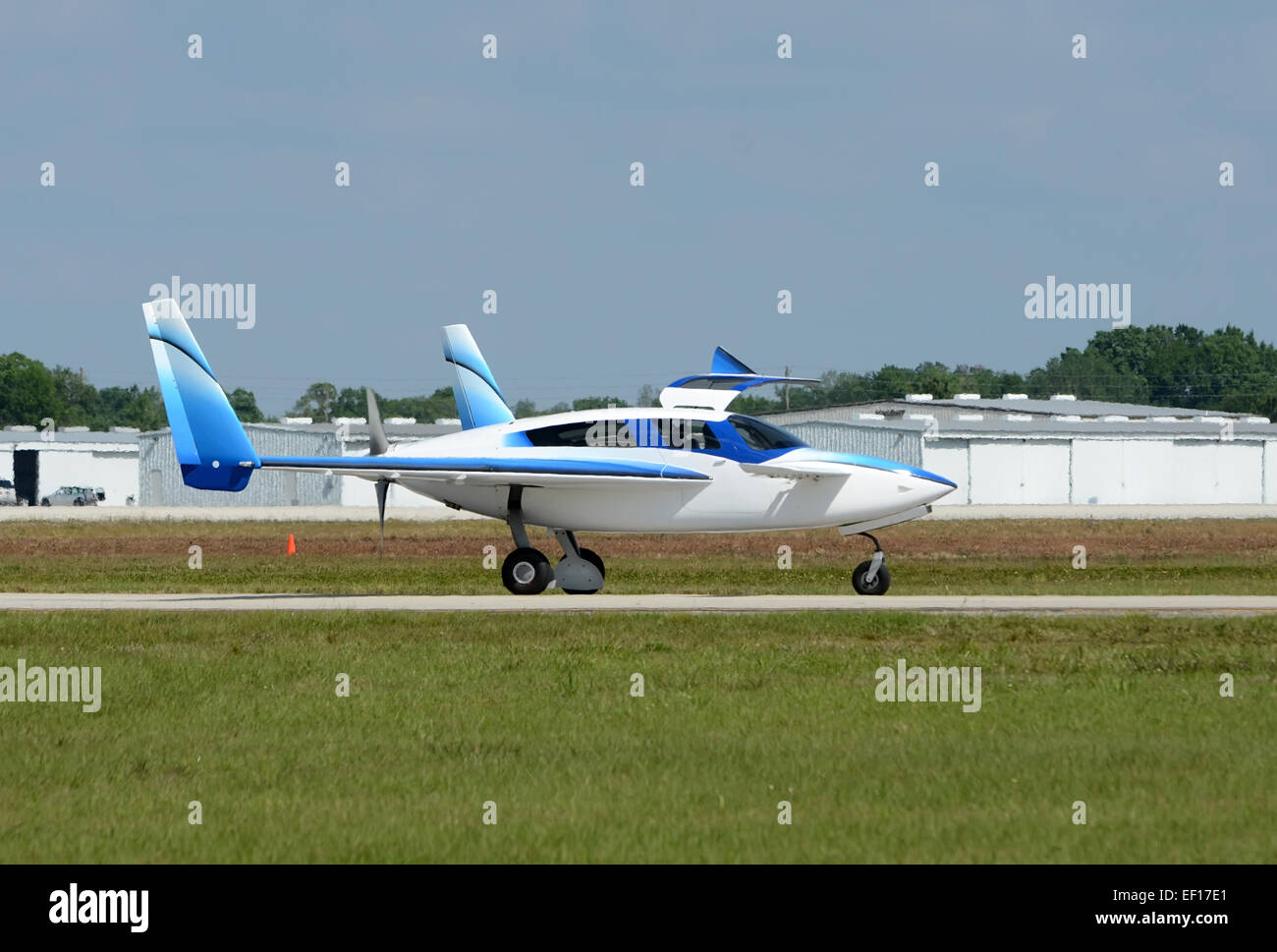 Light private experimental airplane taxiing for takeoff - Stock Image