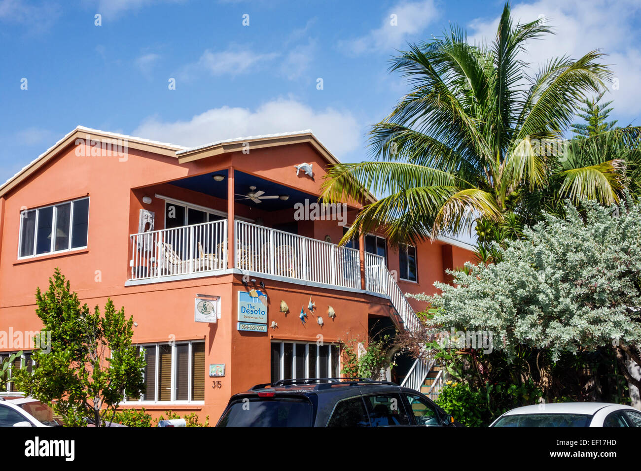 Hollywood Florida The Desoto Oceanview Inn motel hotel front entrance - Stock Image
