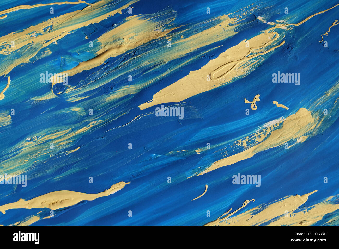 Bold abstract blue and yellow paint smears on paper, background texture Stock Photo